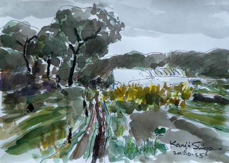 藤沢市・石川の畑の中のビニルハウス