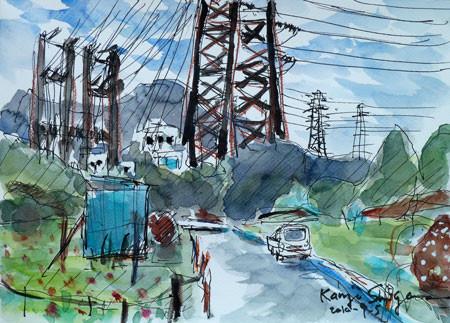 神奈川県藤沢市・引地川親水公園近くの藤沢変電所