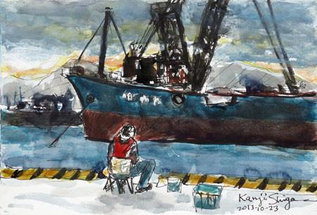 神奈川県・大磯港のガット船と釣り人