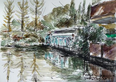 鎌倉市・大船フラワーセンターの展示場と池