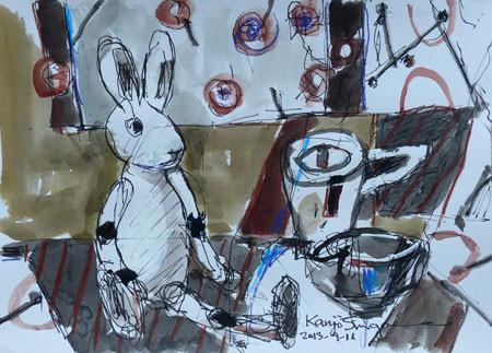 静物・ウサギとコーヒーカップ