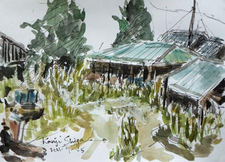 神奈川県。早川の東海道線の家々