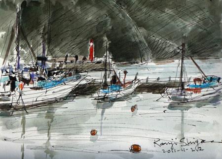藤沢市・片瀬漁港の赤い灯台