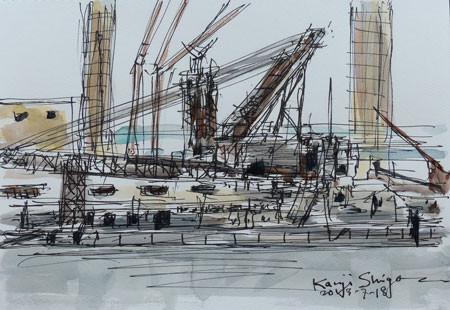 横浜・横浜港の巨大クレーン