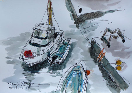 藤沢市・片瀬漁港の小舟