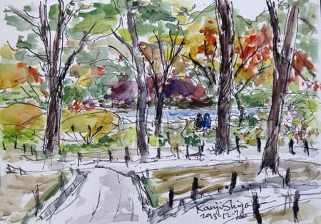 横浜・横浜公園の紅葉