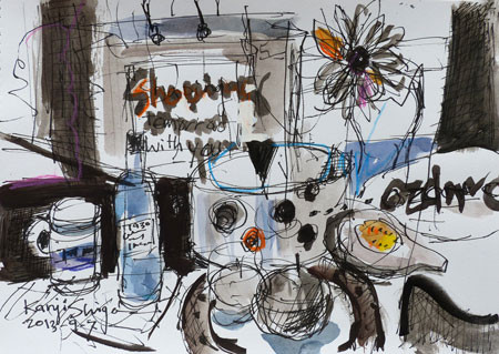 静物・ショッピングバックと卓上の食器