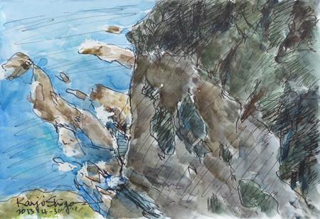 藤沢・江ノ島の断崖絶壁と岩場