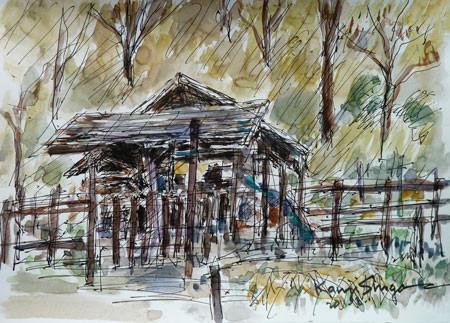 横浜市・舞岡公園の炭焼き小屋