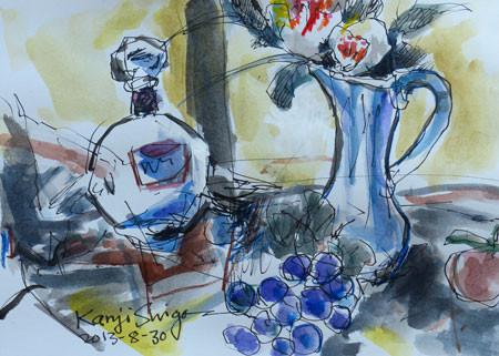 静物・花、ブドウとビン