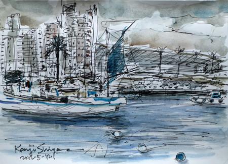 藤沢市・片瀬漁港と江ノ島のマンション