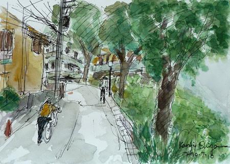 横浜市港北区・大倉山公園への坂道