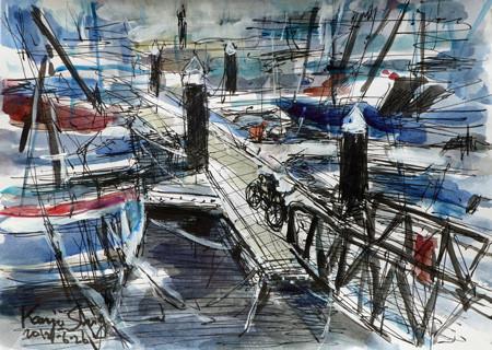 藤沢市・江ノ島ヨットハーバーの浮き桟橋エリア