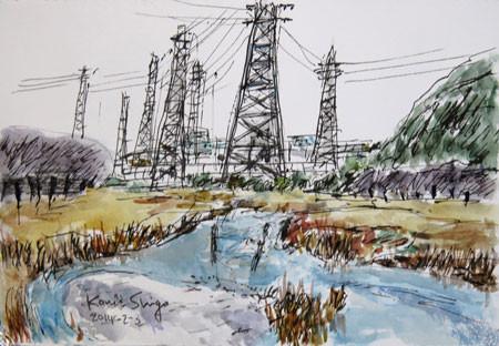藤沢・引地川親水公園と鉄塔