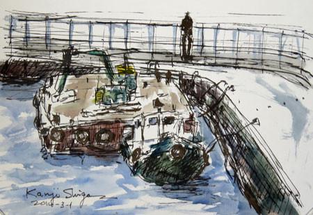 藤沢・片瀬漁港の工事船とタグボート