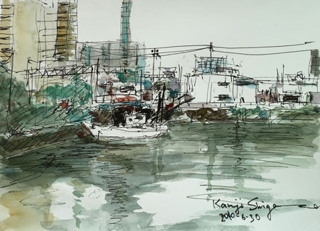 横浜市神奈川区・星野橋付近の舟