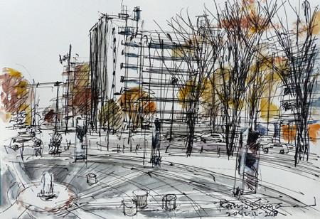 横浜・開港広場と港湾合同庁舎ビル