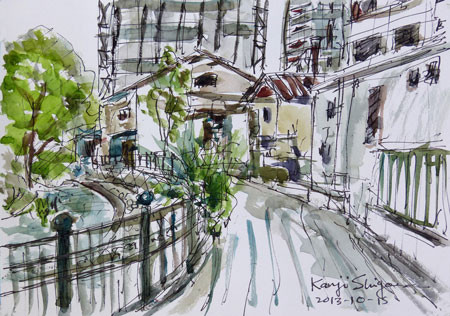 横浜上大岡・大岡川とその周辺の建物