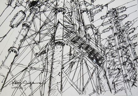 藤沢・引地川親水公園の高圧線の鉄塔