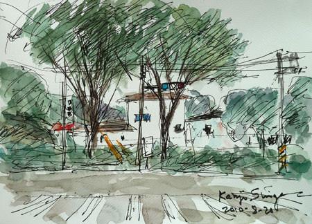 神奈川県藤沢市・中央卸売市場前の交差点