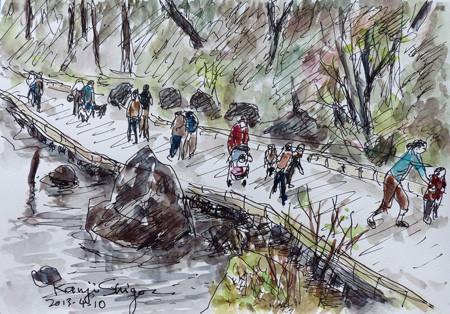 横浜・四季の森公園の橋を渡る人々