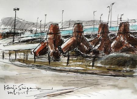 神奈川県・大磯漁港のテトラポット