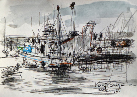 神奈川県・大磯港の漁船