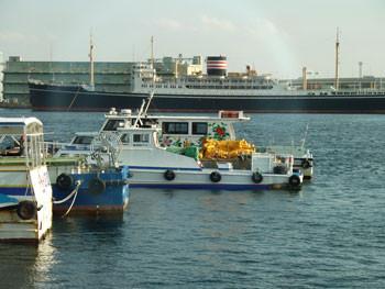 横浜・山下公園の氷川丸と船