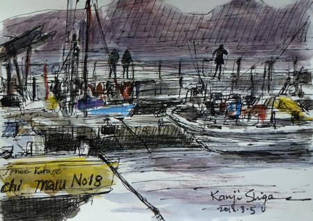 藤沢市・夕暮れの片瀬漁港の漁船