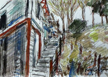 藤沢市・大庭神社近くのユニークな建物と階段