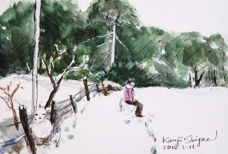 藤沢・女の子と雪だるま