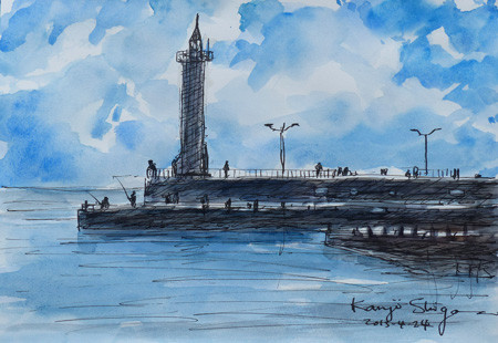 藤沢・江ノ島の湘南港の灯台