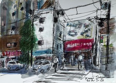 横浜・元町の裏通り商店街のビル