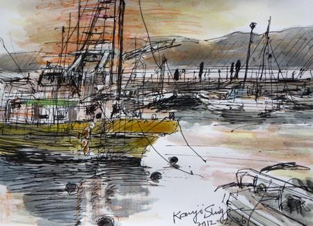 藤沢市・夕暮れの片瀬漁港