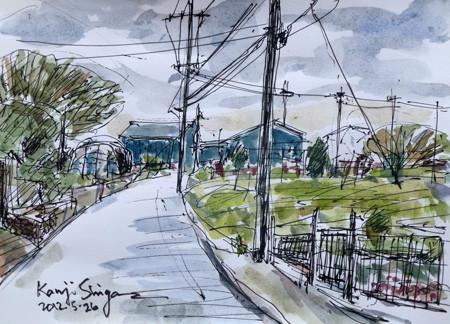 藤沢市・石川の畑の中の青い小屋