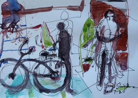 茅ヶ崎市・海の家の自転車