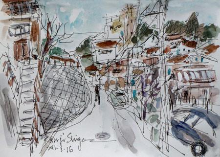神奈川県・真鶴町の坂の上の家々