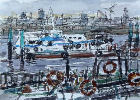 横浜・横浜港のゾウの鼻パークと船