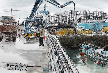 鎌倉・腰越漁港改修整備工事の現場