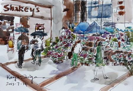 茅ヶ崎・中央通りの花屋さんとシェーキーズ