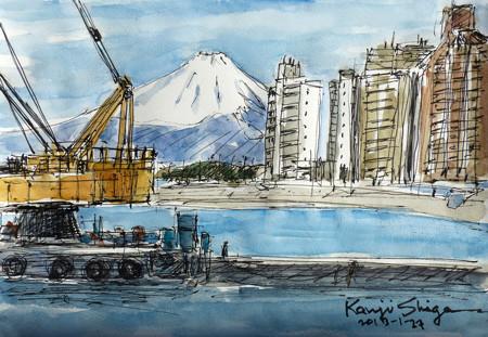 鎌倉・腰越漁港から富士を見る
