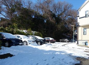 藤沢・雪の日の立石公園裏のパーキングエリア