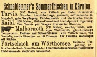 Zeitungsannounce aus dem Jahr 1894