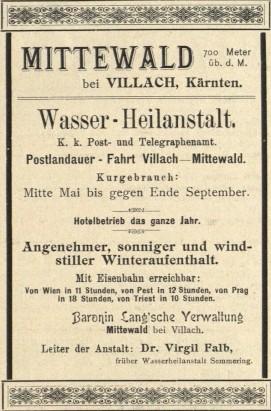 Zeitungsannounce Wasser-Heilanstalt Mittewald 1897