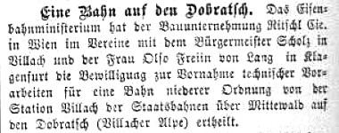 Zeitungsbericht über die Bewilligung des Eisenbahnministeriums zur Vornahme technischer Vorarbeiten für die Dobratschbahn 1896