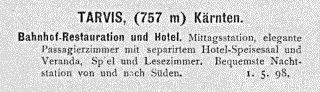 Zeitungsannounce 1898: Bahnhof-Restauration und Hotel, Tarvis
