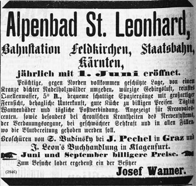 Zeitungsannounce zum Alpenbad St. Leonhard aus dem Jahr 1884