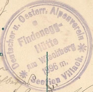 Hüttenstempel von der Findenegghütte am Wischberg 1910