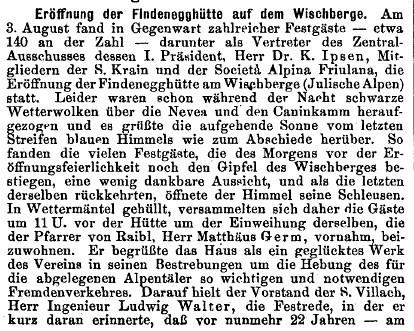 Feierliche Eröffnung der Findenegghütte am 3. August 1902