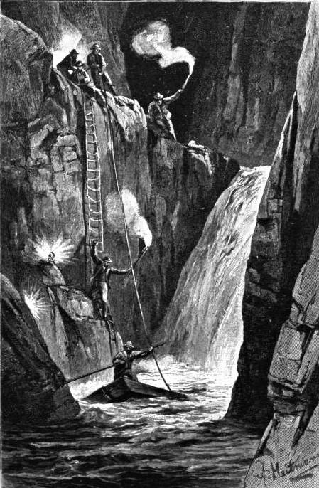 Historische Zeichnung der Erforschung der Höhlen von St. Kanzian durch die Sektion Küstenland des Deutschen und Österreichischen Alpenvereins in Triest im Jahr 1884